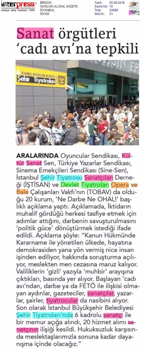 05.08.2016 Birgün Gazetesi