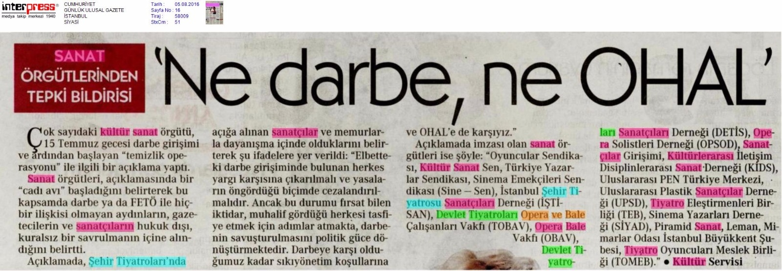 05.08.2016 Cumhuriyet Gazetesi