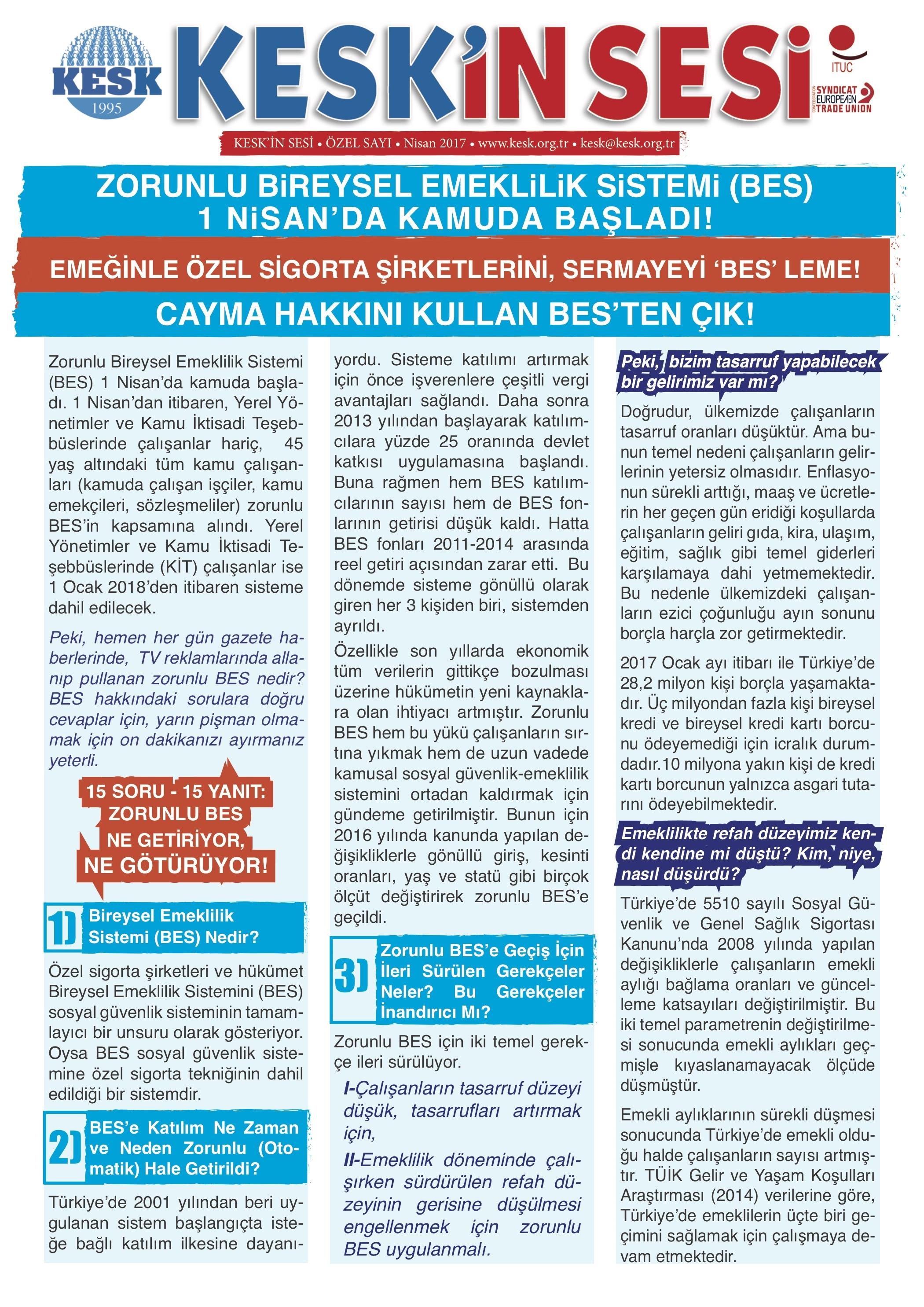 BİREYSEL DEĞİL, KAMUSAL EMEKLİLİK!