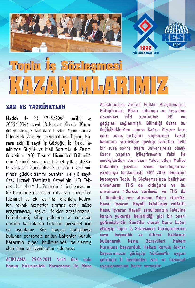 TOPLU İŞ SÖZLEŞMESİ KAZANIMLARIMIZ